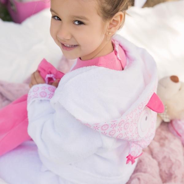 Peignoir enfant fille hibou rose