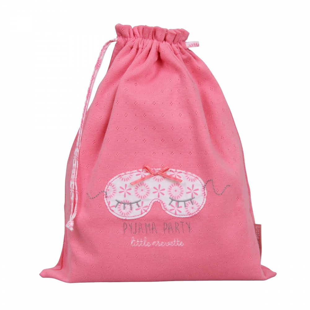 Sac linge rose coulisse pyjama party little crevette - Sac a linge bebe ...