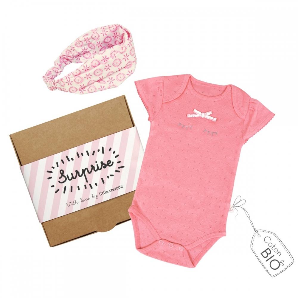 548346cbe7899 Coffret cadeau naissance body et bandeau bébé fille rose