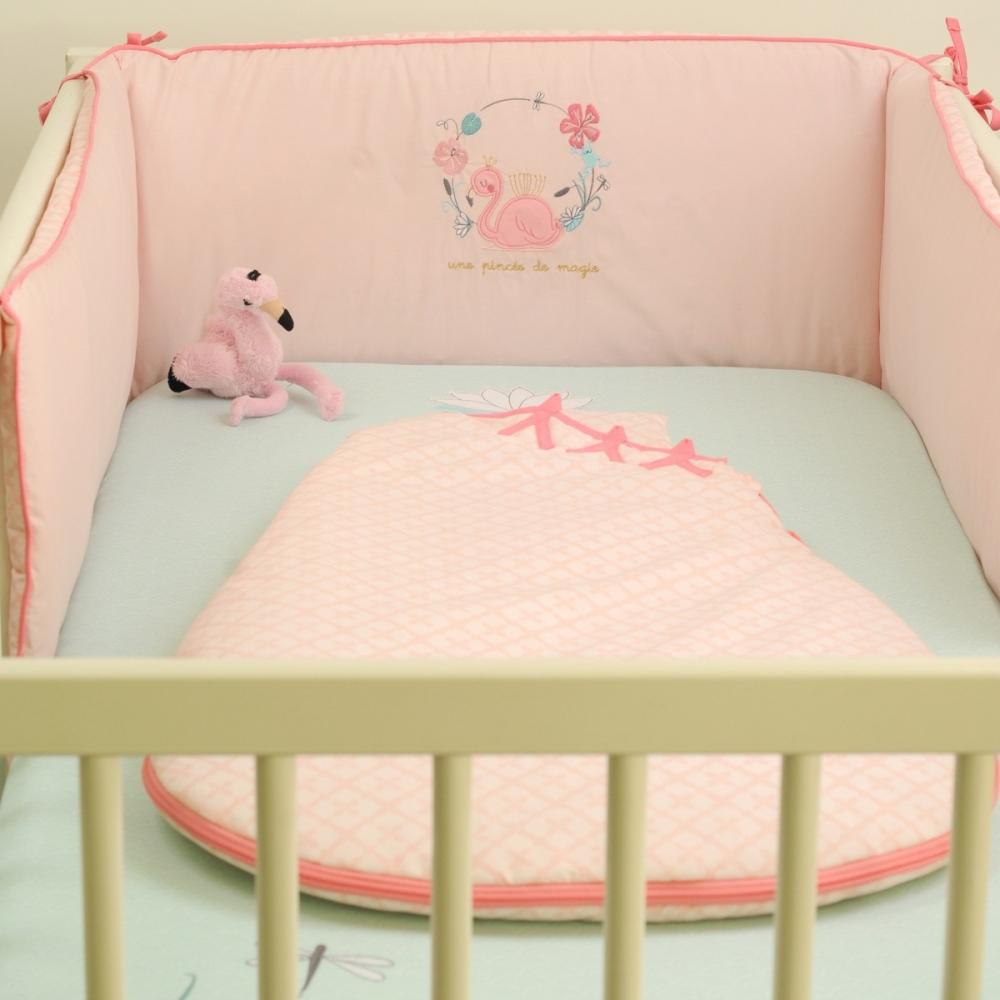 tour de lit fille flamand rose little crevette. Black Bedroom Furniture Sets. Home Design Ideas