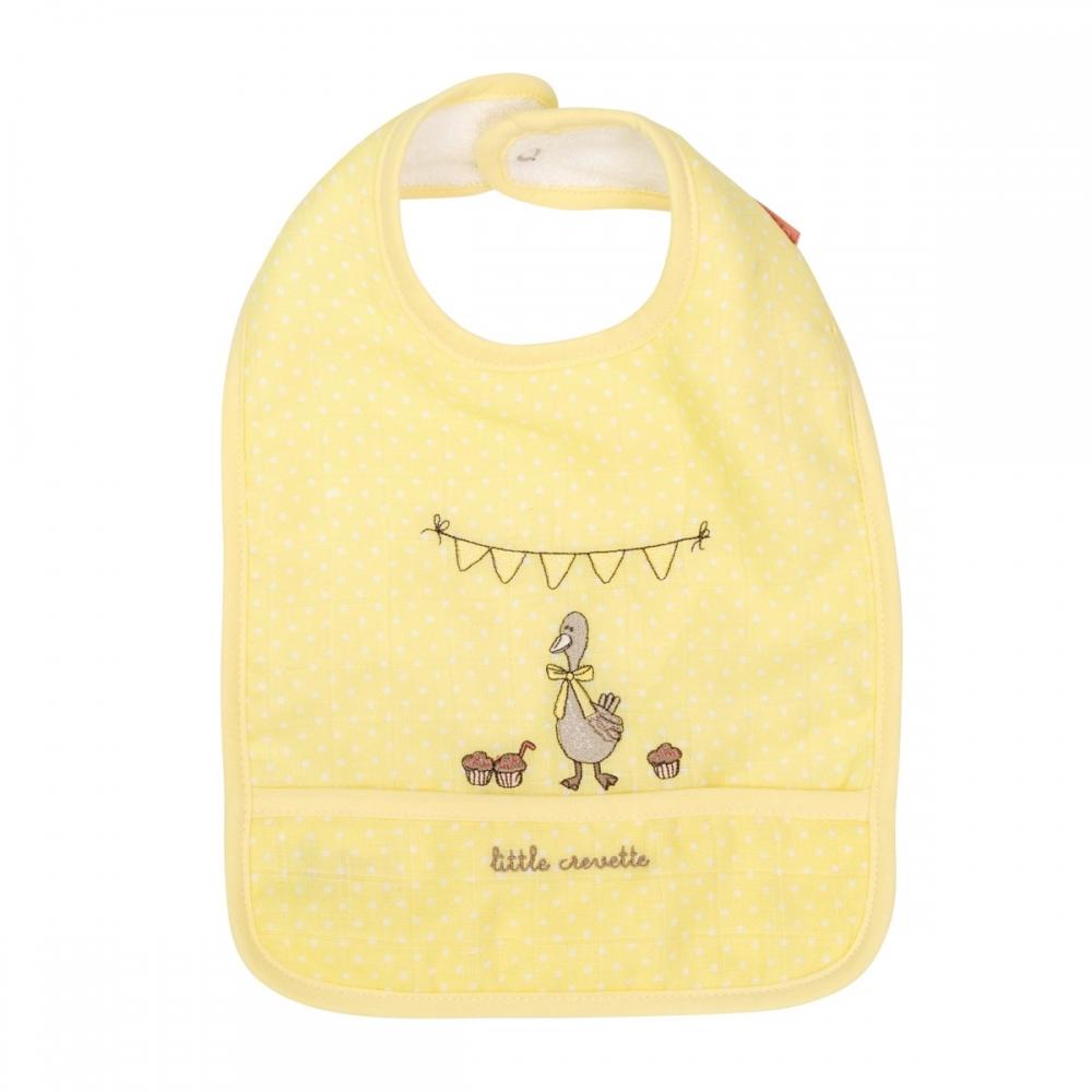 Bavoir bébé en lange jaune