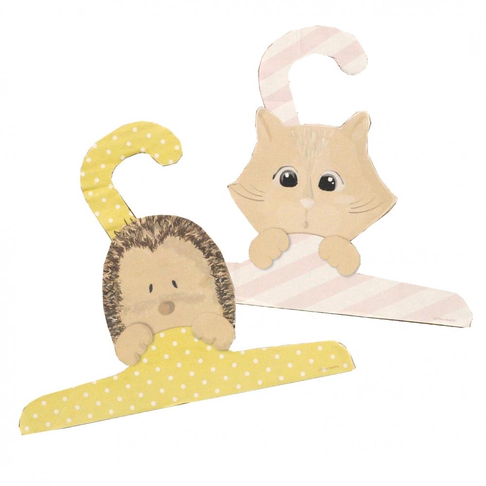 Cintre déco en carton hérisson et chaton