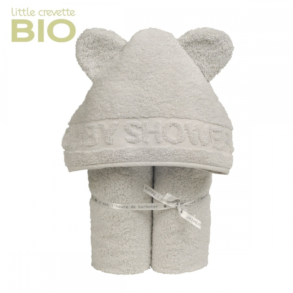 cape de bain à oreilles Baby Shower gris clair