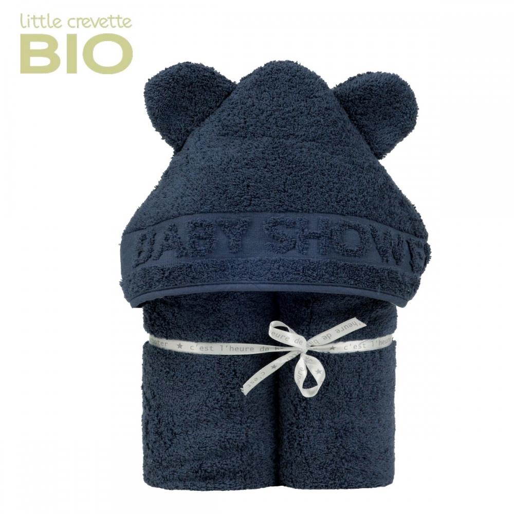 Sortie de bain à oreilles Baby Shower bleue marine