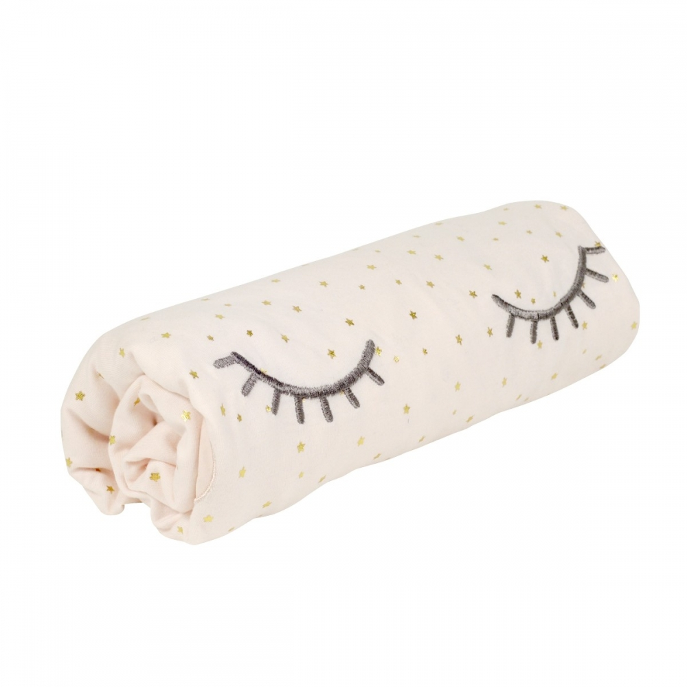 Drap-housse coton bio rose Princesse Swan