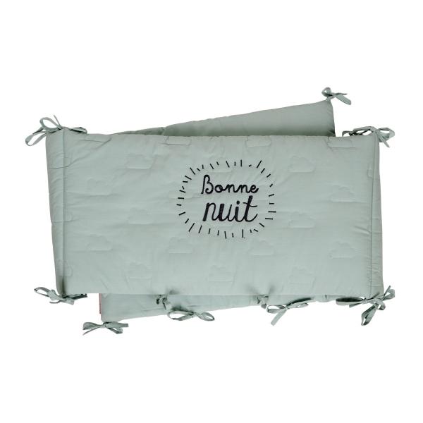 tour de lit vert d 39 eau nuages bonne nuit little crevette. Black Bedroom Furniture Sets. Home Design Ideas