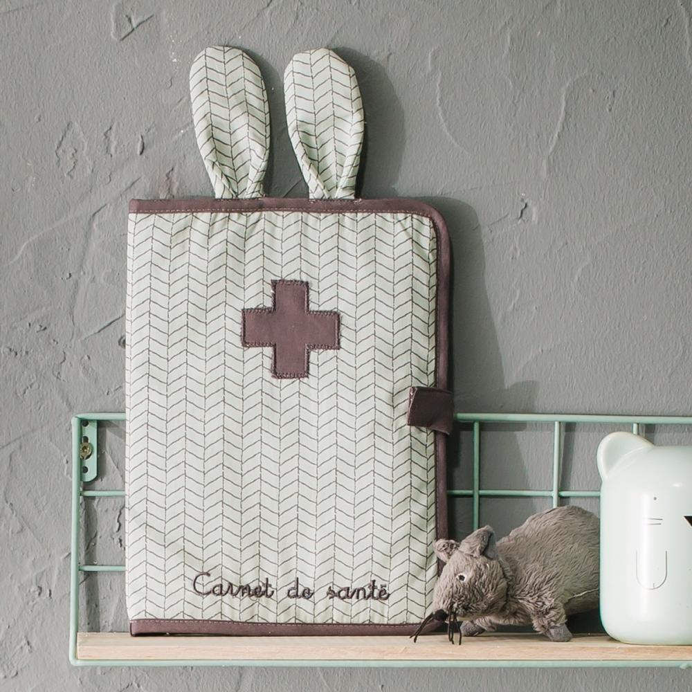 Protège-carnet de santé lapin coton bio Bonne nuit
