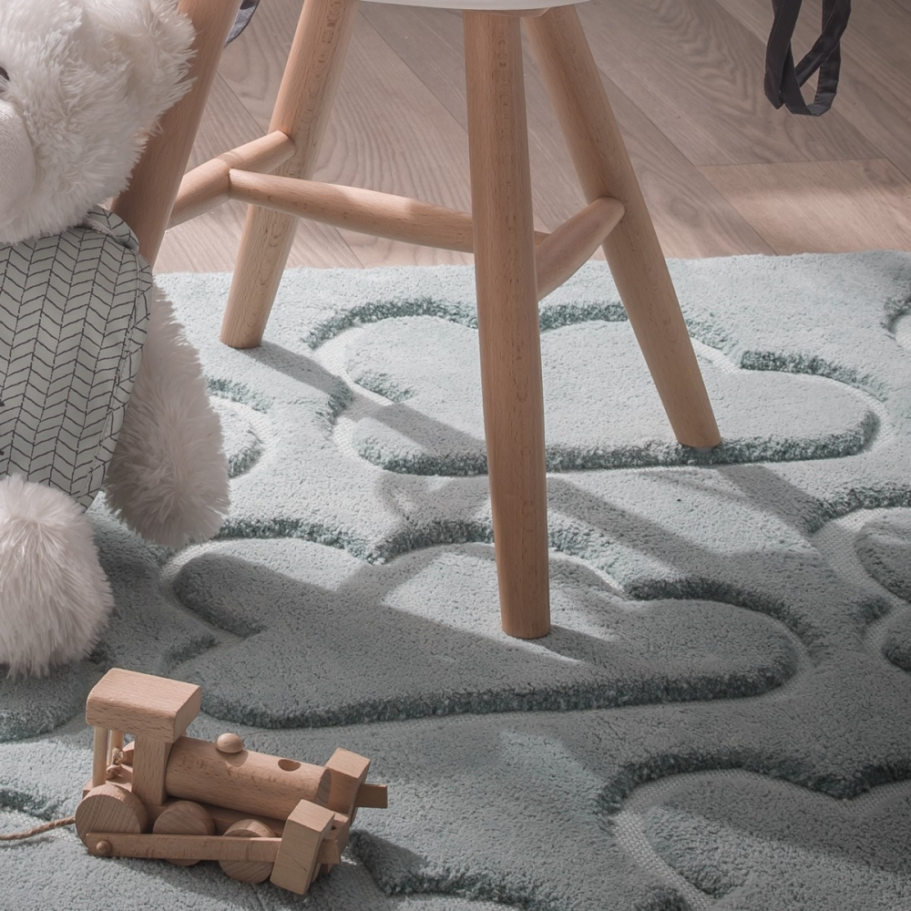 tapis chambre enfant bleu nuages little crevette. Black Bedroom Furniture Sets. Home Design Ideas