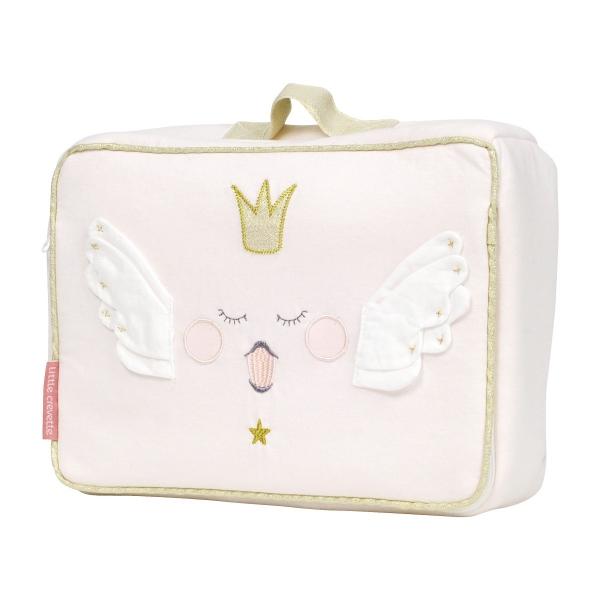 Trousse de toilette enfant rose pâle et doré motif couronne