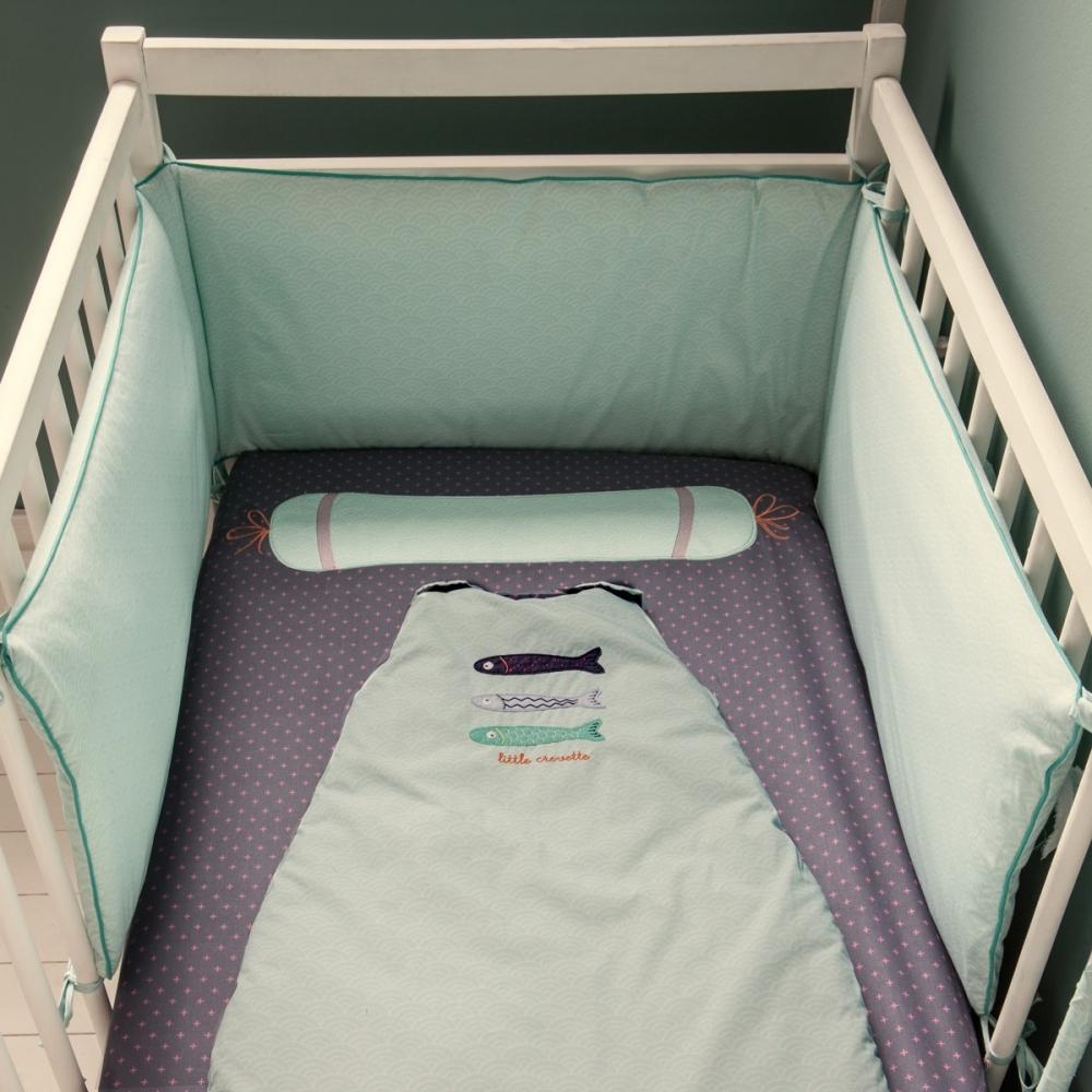 Tour de lit bébé bleu aqua vagues Poisson-Lune   Little Crevette
