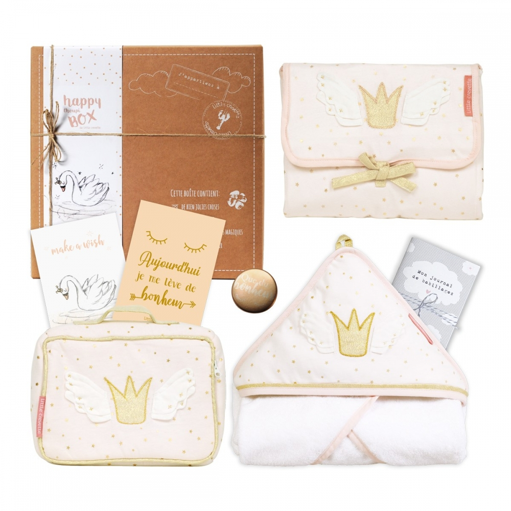 coffret cadeau b b coton bio princesse swan moyenne box little crevette. Black Bedroom Furniture Sets. Home Design Ideas