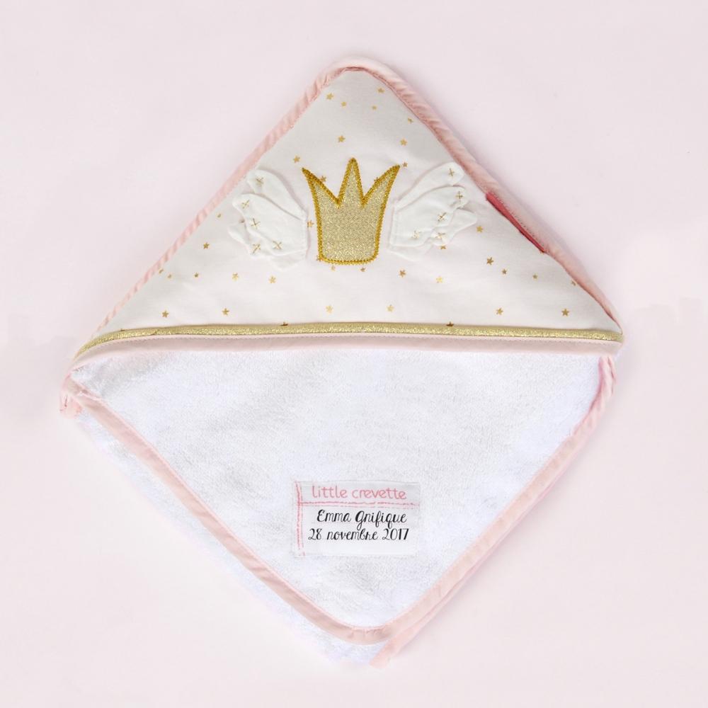 sortie de bain b b fille personnalis e princesse swan little crevette. Black Bedroom Furniture Sets. Home Design Ideas