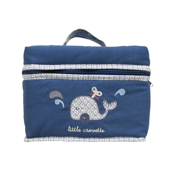 trousse de toilette b b bleue baleine little crevette