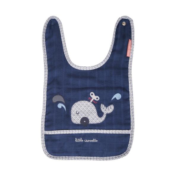 Bavoir naissance bébé Estampille bleu canard
