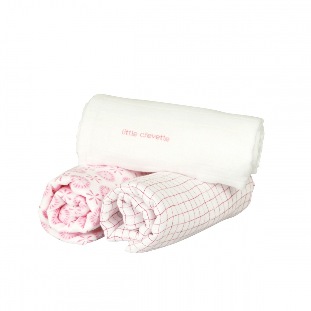 Lot de 3 langes fille en mousseline imprimée Rose