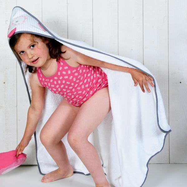 Sortie de bain enfant grande taille blanche Hibou