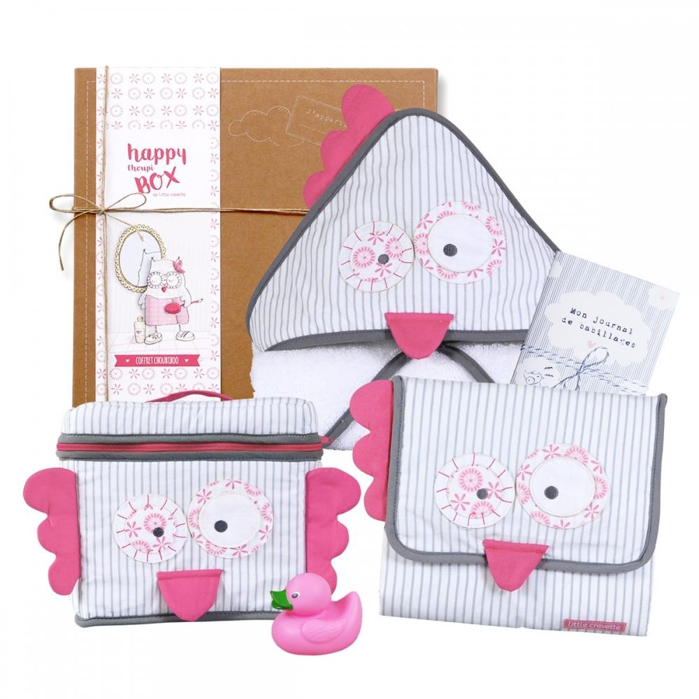 Coffret cadeau bébé fille original bain hibou rose