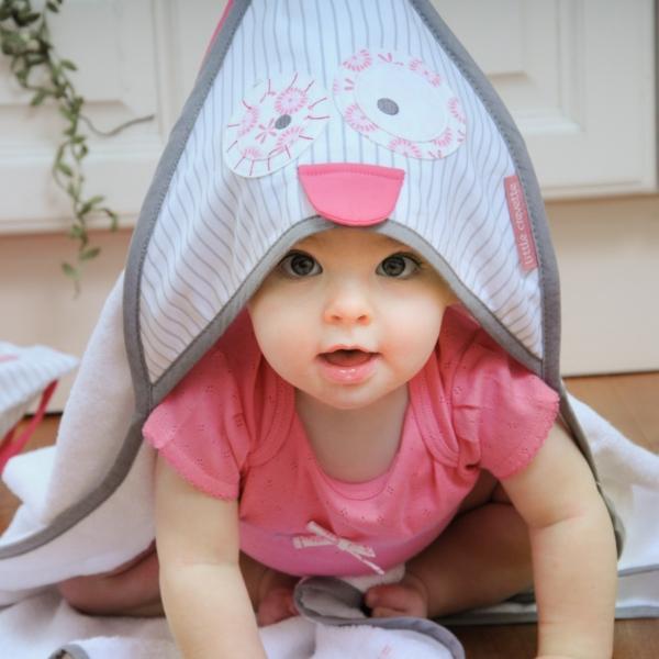 Cape de bain bébé blanche Hibou