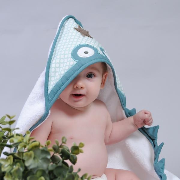 Cape de bain bébé blanche Crocrodile