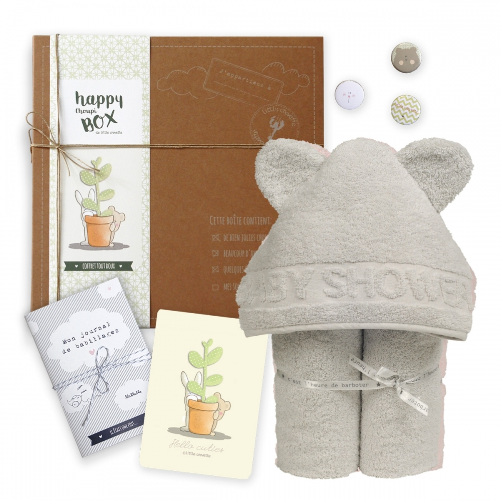 Coffret cadeau bébé original mixte cape de bain ours