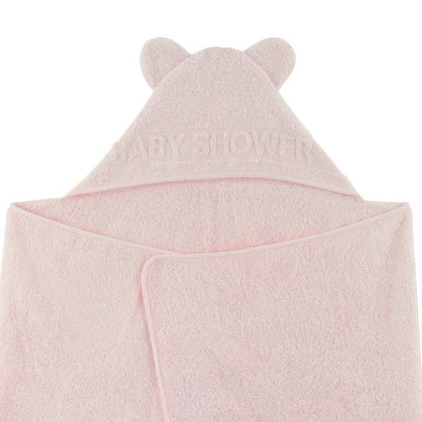 Sortie de bain à oreilles Baby Shower rose pâle
