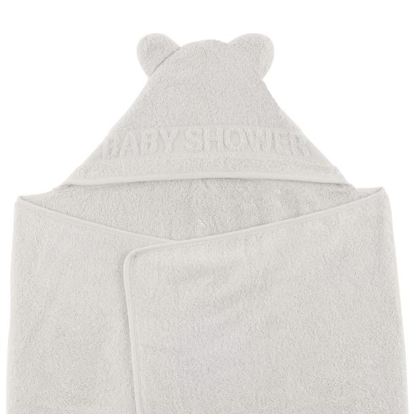 cape de bain à oreilles Baby Shower gris clair