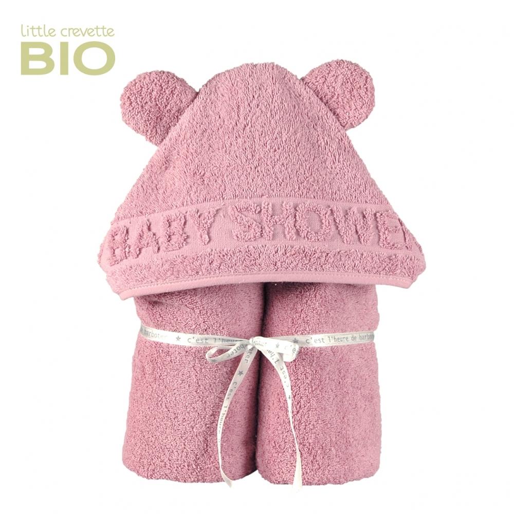 cape de bain à oreilles Baby Shower vieux rose
