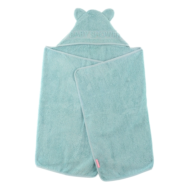 cape de bain à oreilles Baby Shower vert céladon