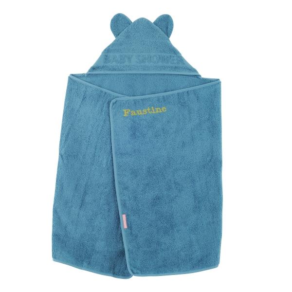 cape de bain à oreilles Baby Shower bleu canard