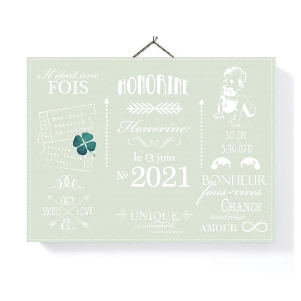 Tableau déco personnalisé Faire-part vert Opaline