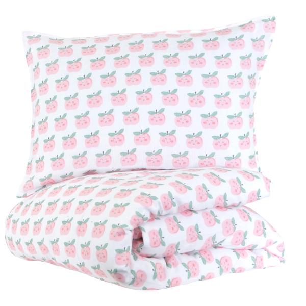 Parure de lit gaze de coton Pomme d'amour 100x140 cm