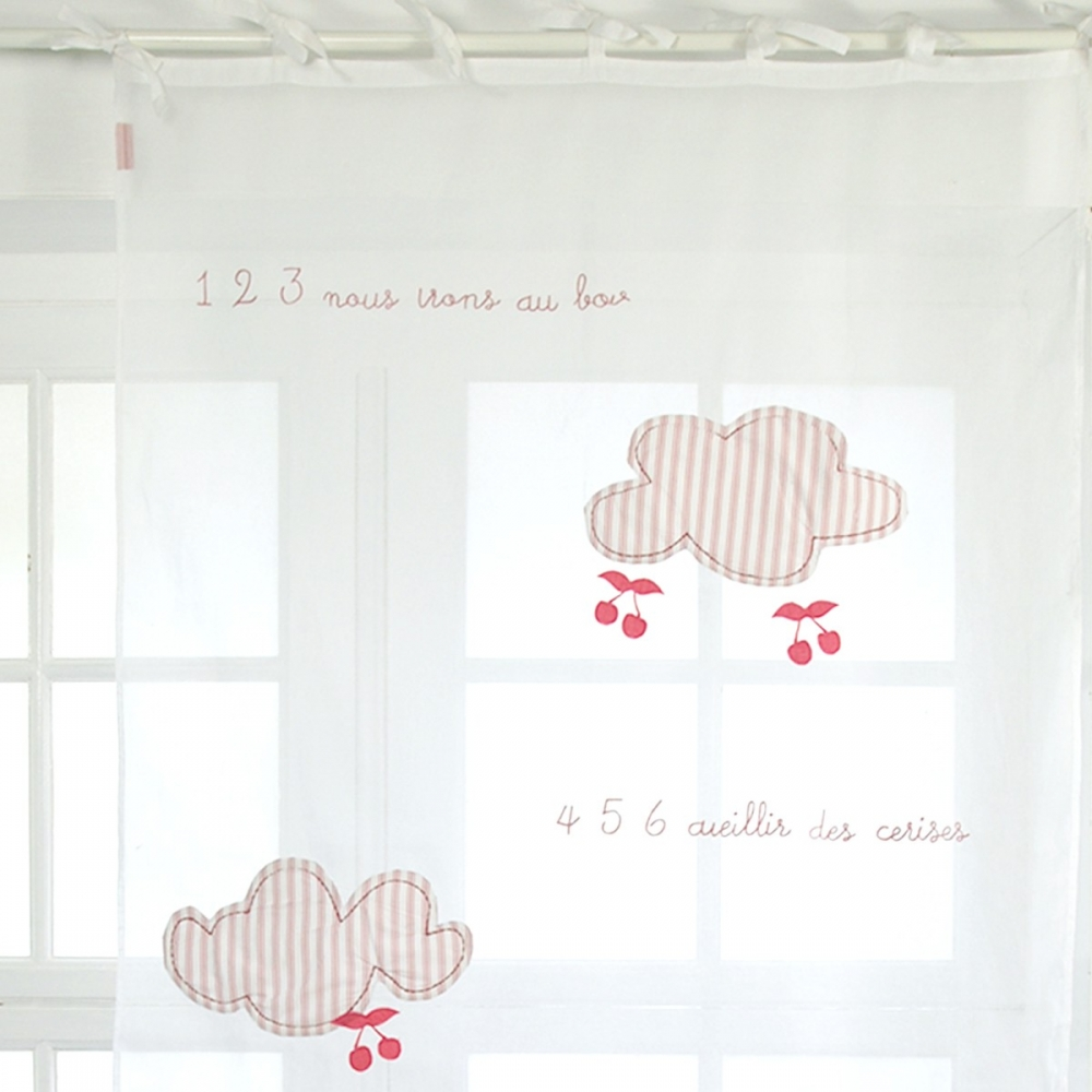 voilage nouettes en organdi fille nuages et cerises little crevette. Black Bedroom Furniture Sets. Home Design Ideas