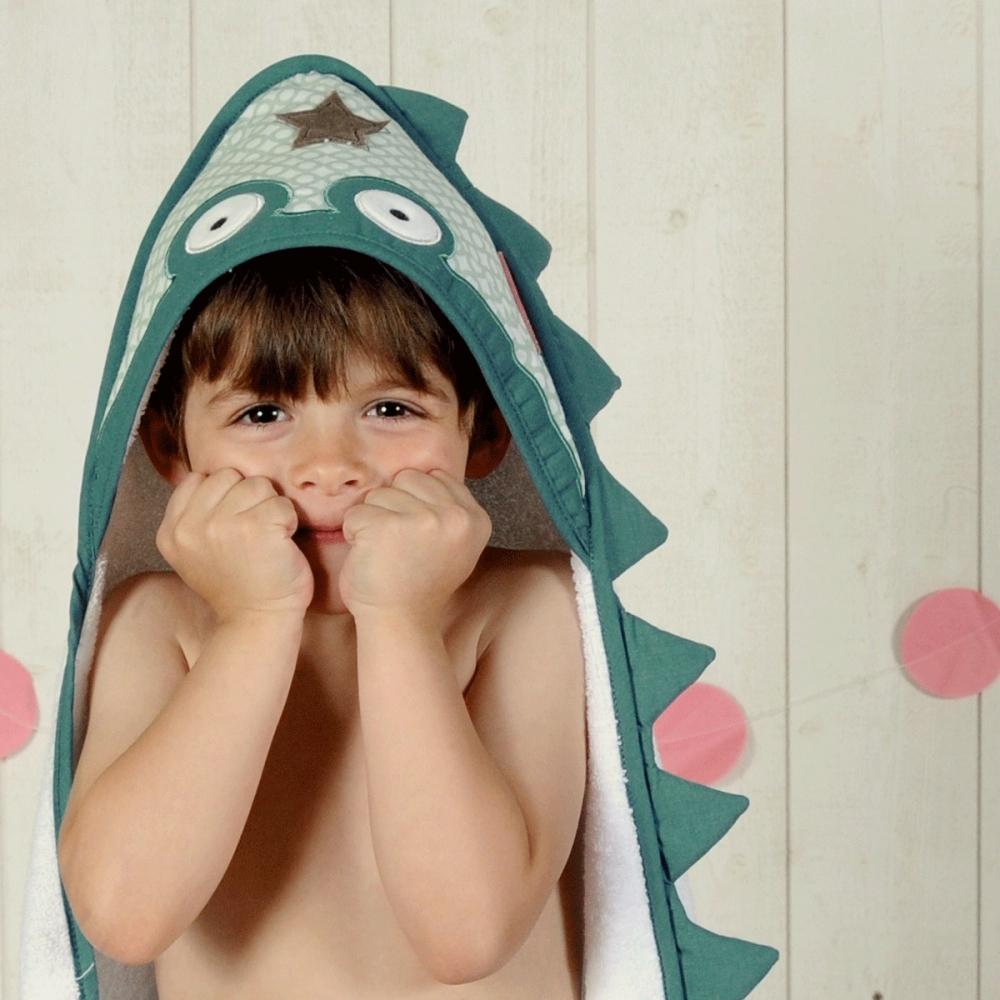grande sortie de bain bébé blanche Crocrodile