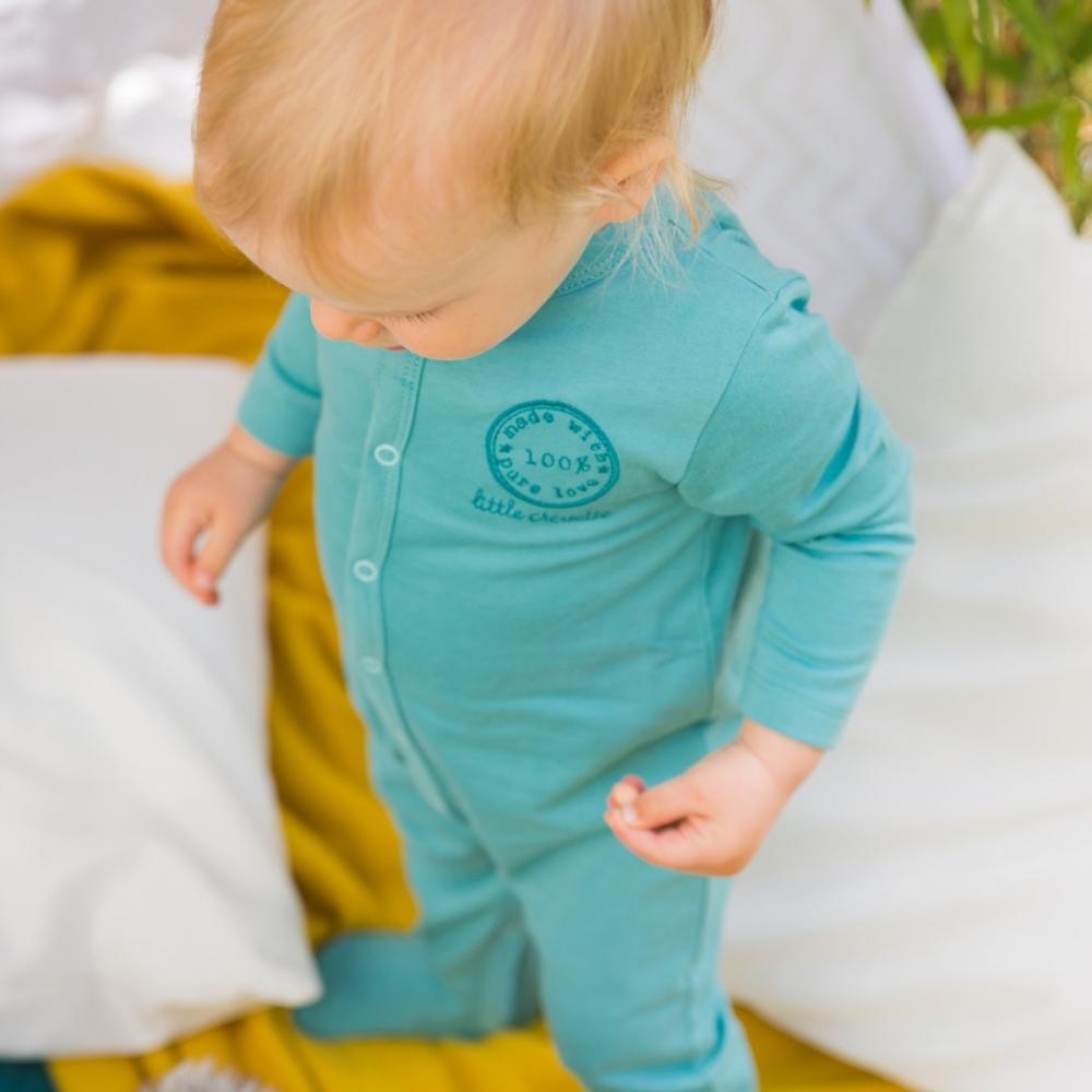 pyjama b b gar on bleu canard en coton bio little crevette. Black Bedroom Furniture Sets. Home Design Ideas