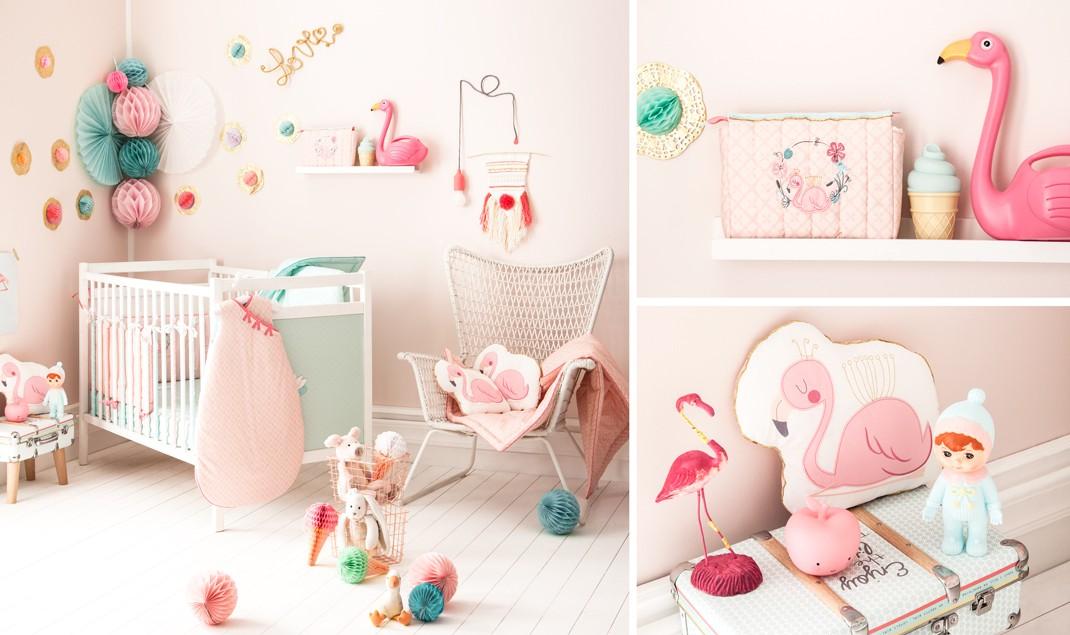 D coration de chambre b b fille flamant rose little crevette - Deco chambre bebe rose ...